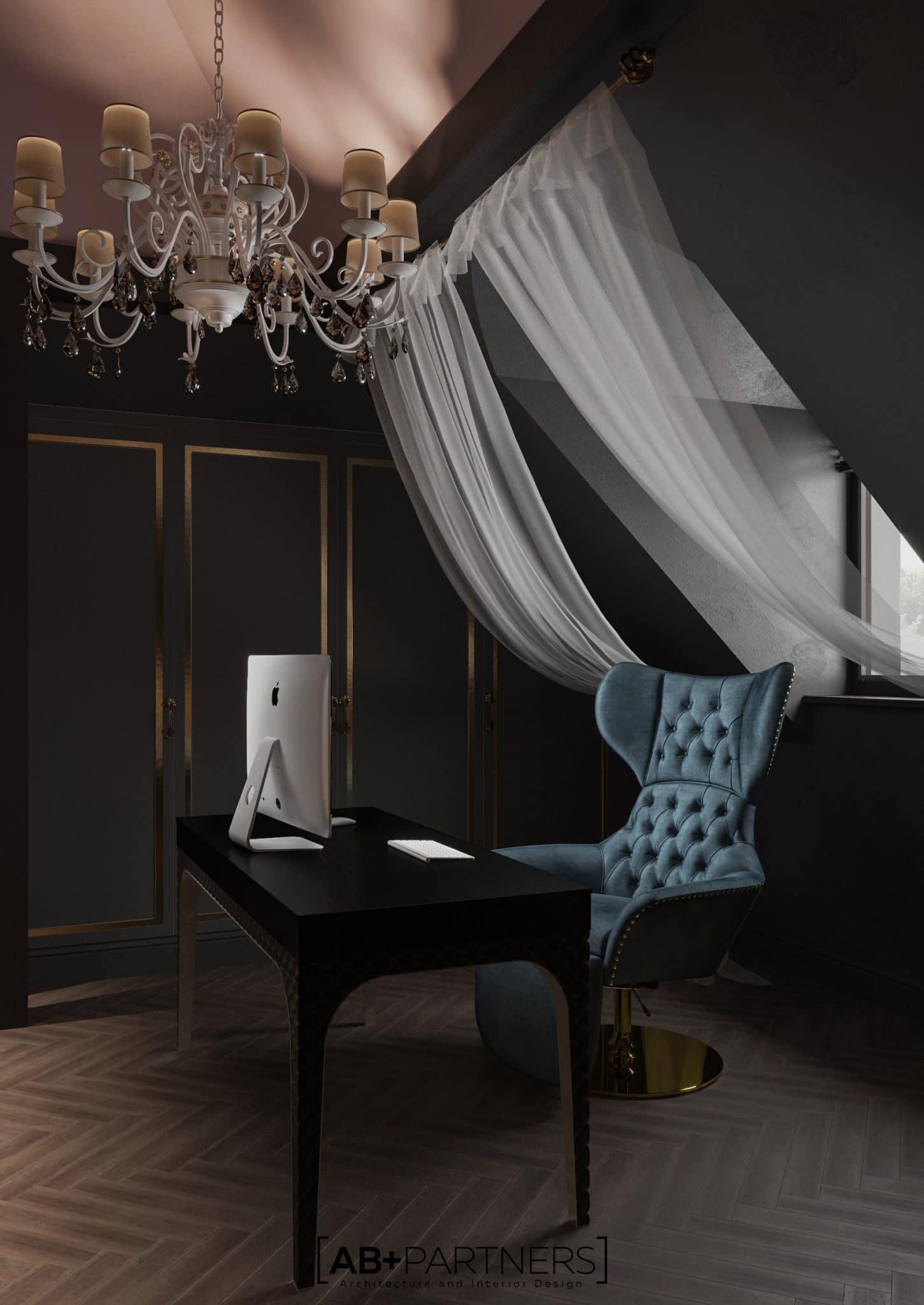 Birou la mansarda, interior modern, practic si confortabil