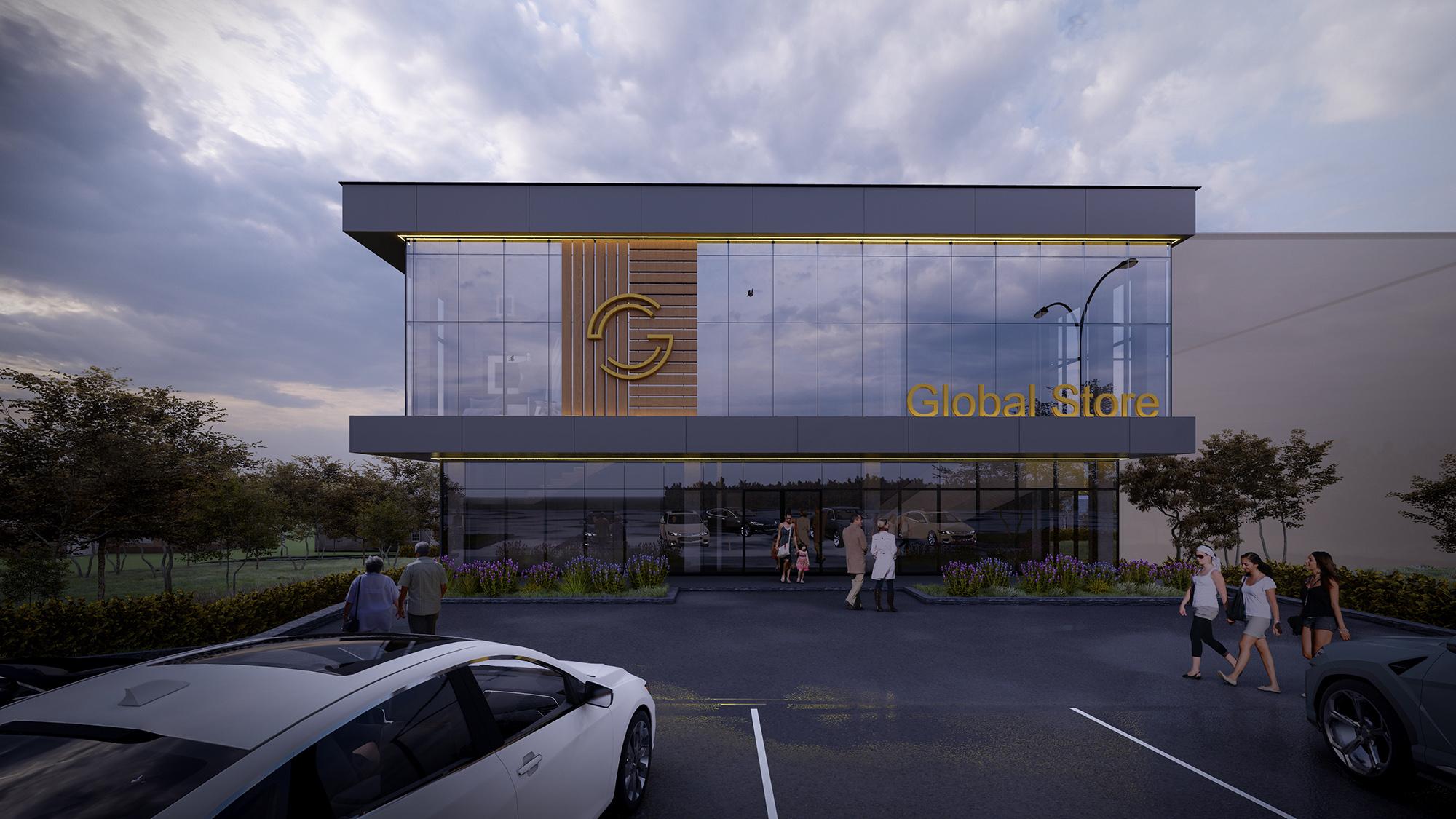 Global Store proiect de arhitectura spatii publice cu liniile arhitecturale stricte, Ab+Partners in Chisinau