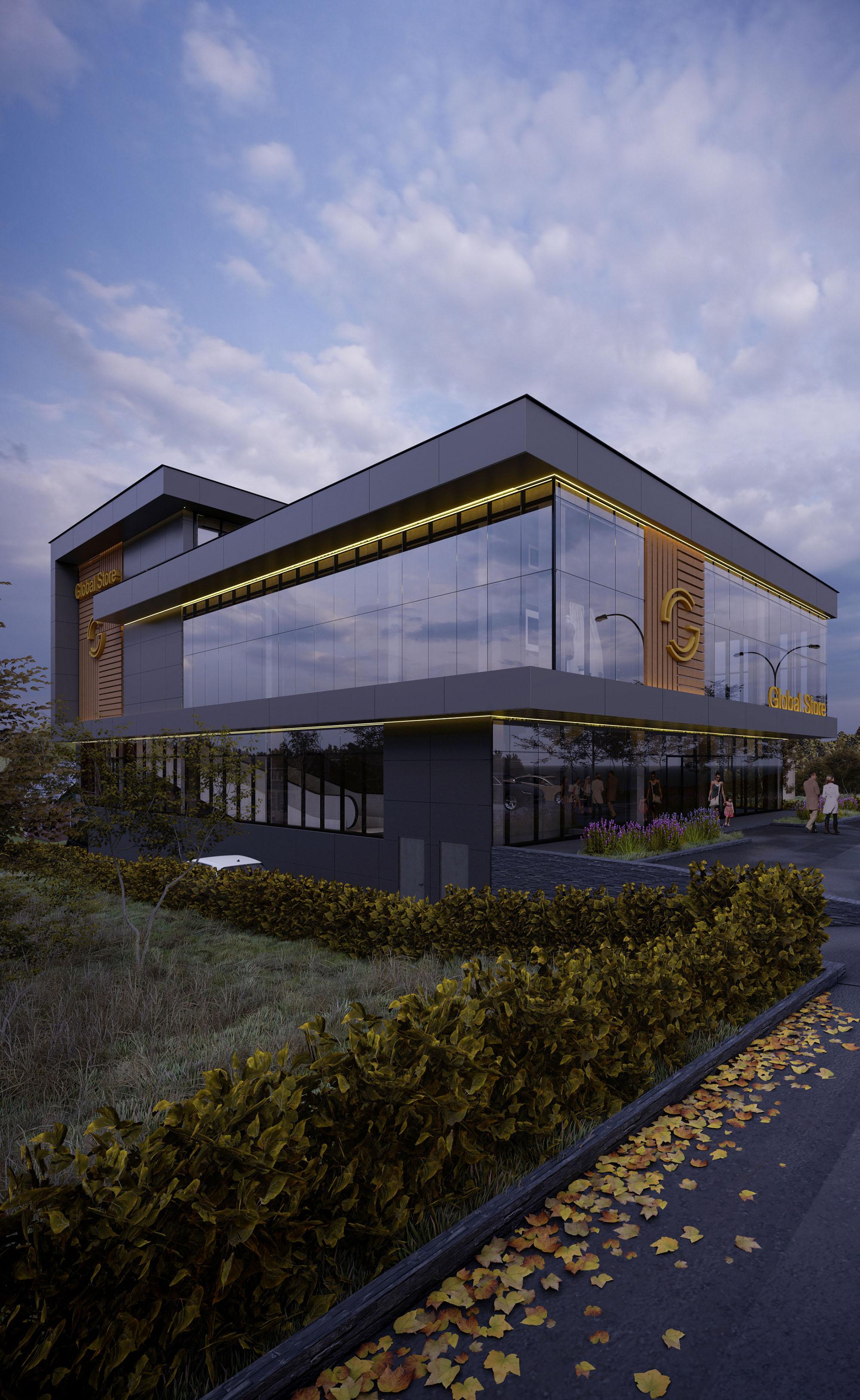 Global Store – arhitectură contemporană sobră, Proiect arhitectural de la biroul de design AB+partners