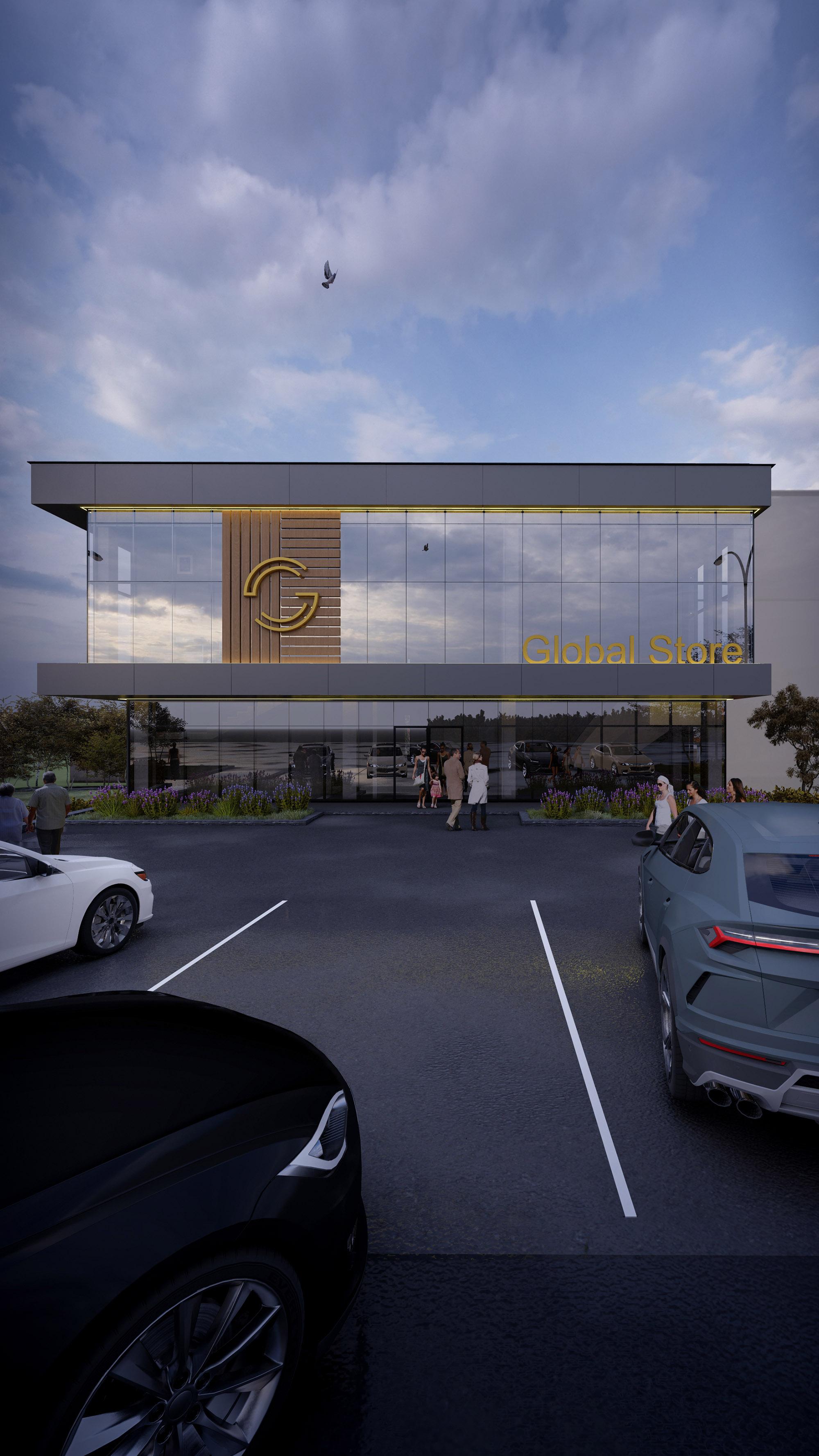 Global Store proiect de arhitectura a spatiilor publice, cu parcare mare. Proiect de la ab+partners