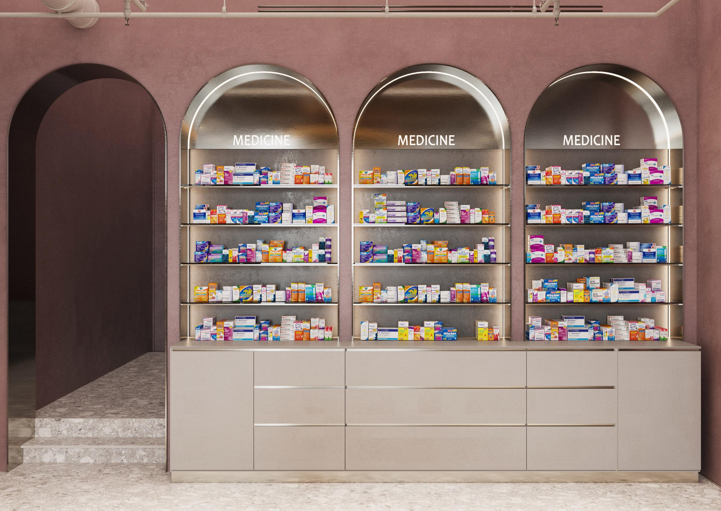 Biroul de arhitectura si design interior ab+partners, designul unei farmacii – naturalețe elegantă