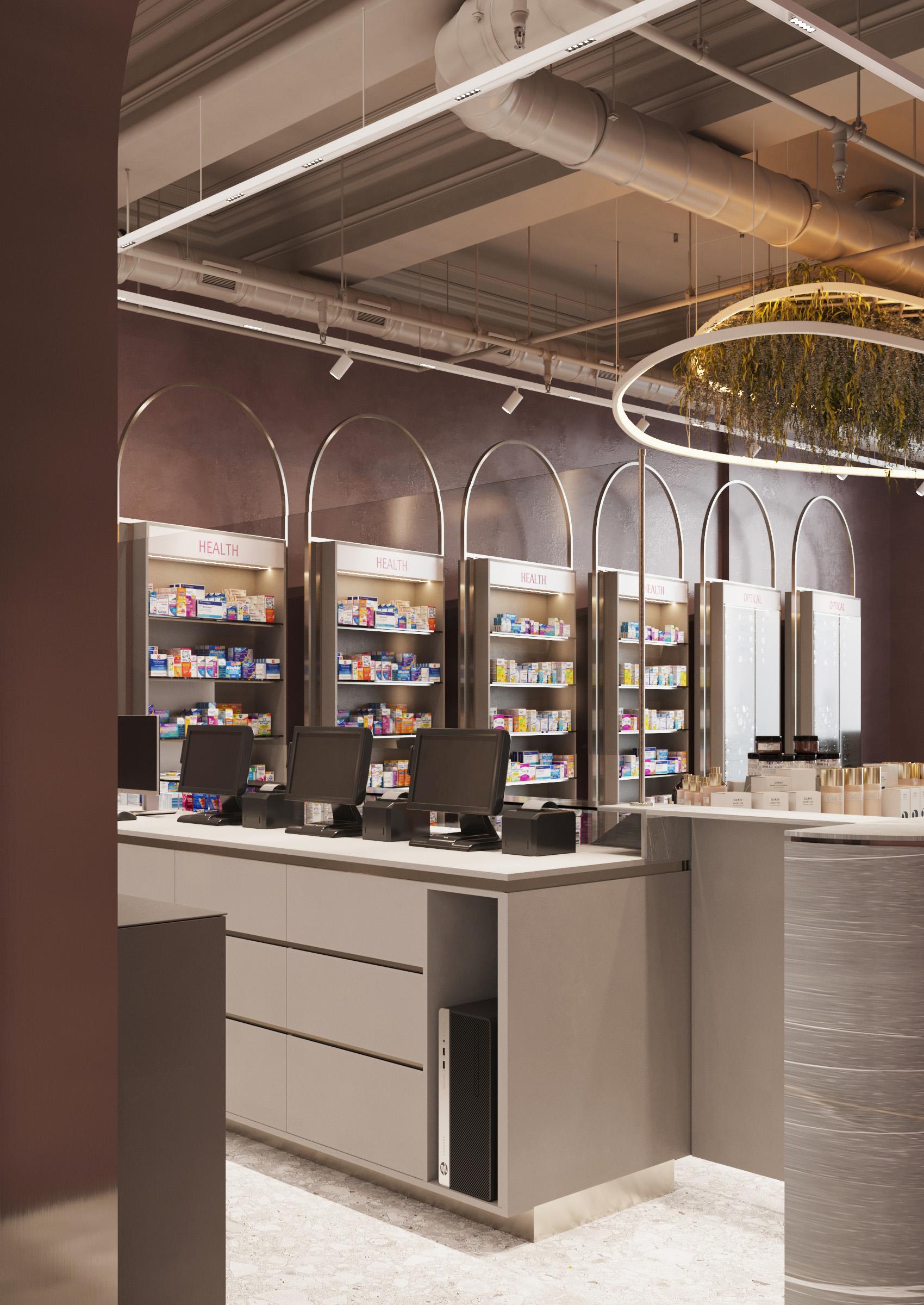 Design de interior pentru farmacie, amenajare eleganta cu clasicul pastrat, ab+partners