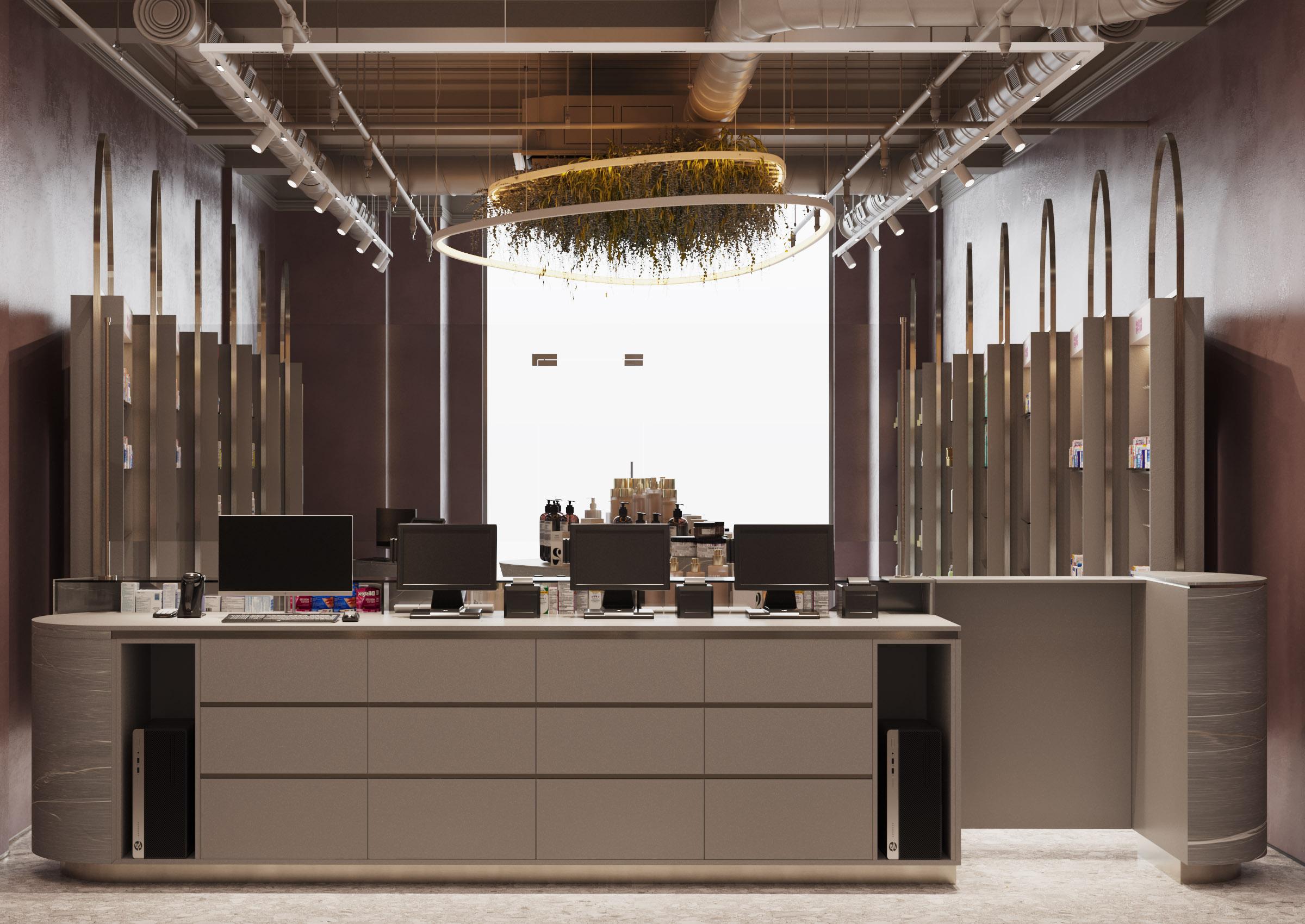 Proiect de amenajare interioara a farmaciei Elody, biroul de arhitectura si design ab+partners
