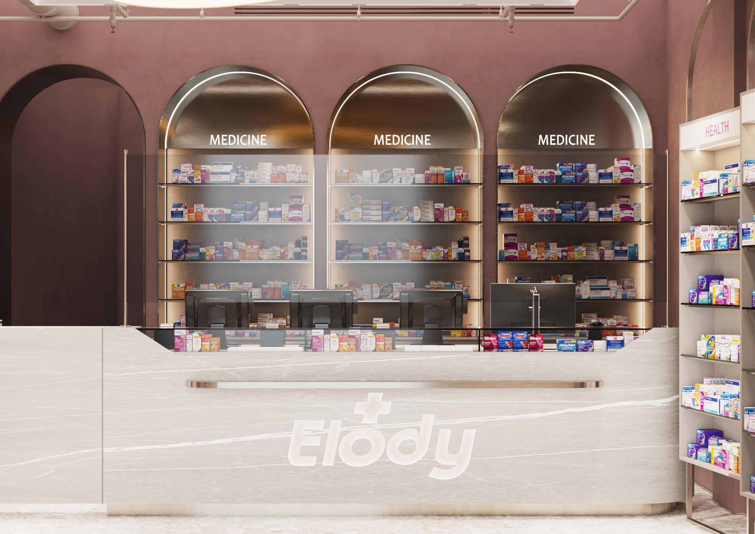 Eleganta in medicina. Design unei farmacii din Chisinau. Proiect de la ab+partners
