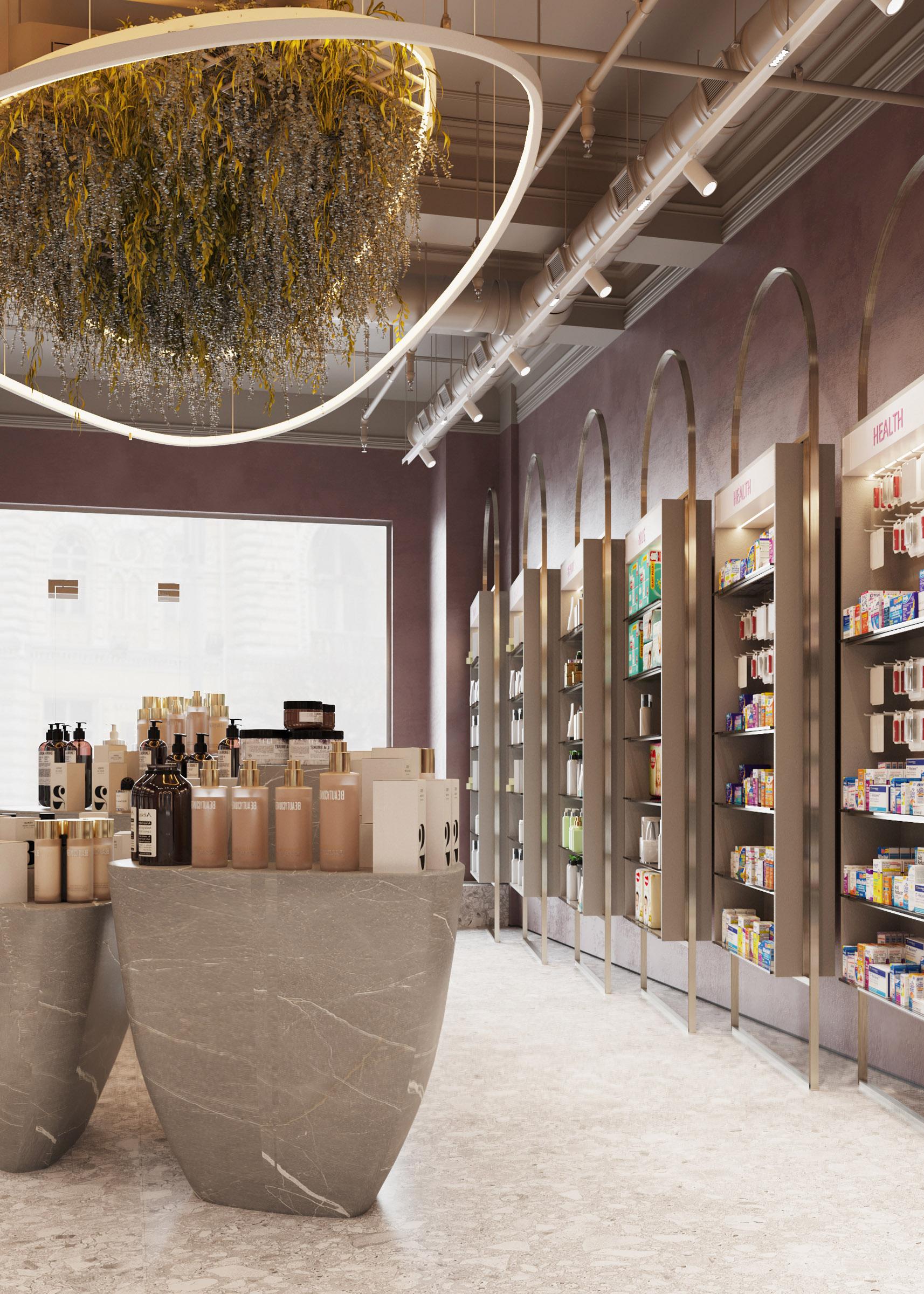 Eleganta in designul de interior pentru farmacia Elody Chisinau, biroul de arhitectura ab+partners